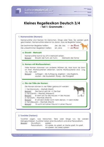 Vorschaugrafik 1 für das  Arbeitsblatt Kleines Regellexikon Deutsch 3/4 - Teil 1: Grammatik  von Lehrermaterial.de.
