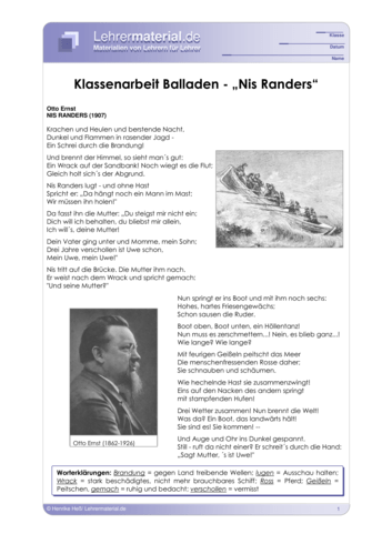 Vorschaugrafik 1 für das  Arbeitsblatt Klassenarbeit Balladen - Nis Randers von Lehrermaterial.de.