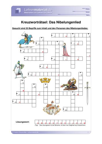 Vorschaugrafik 1 für das  Arbeitsblatt Das Nibelungenlied von Lehrermaterial.de.