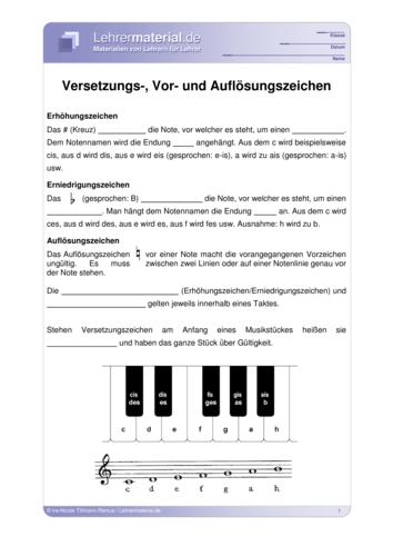 Vorschaugrafik 1 für das  Arbeitsblatt Versetzungs-, Vor- und Auflösungszeichen von Lehrermaterial.de.