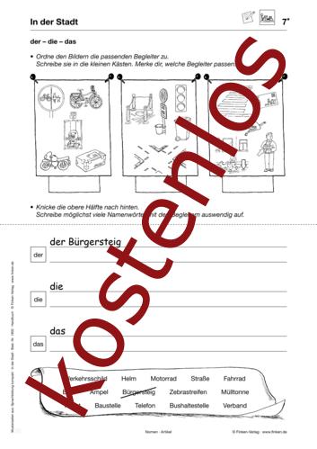 Vorschaugrafik 1 für das kostenlose Arbeitsblatt Bestimmte Begleiter: der – die – das von Lehrermaterial.de.
