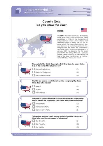 Vorschaugrafik 1 für das  Arbeitsblatt Country Quiz: Do you know the USA? von Lehrermaterial.de.