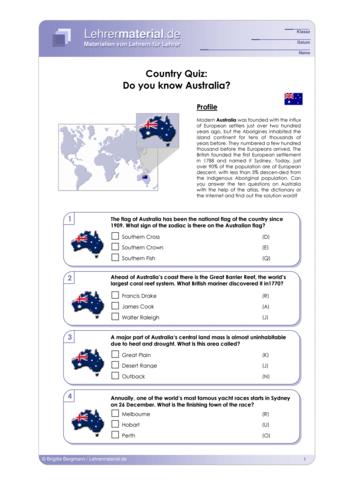 Vorschaugrafik 1 für das  Arbeitsblatt Country Quiz: Do you know Australia? von Lehrermaterial.de.