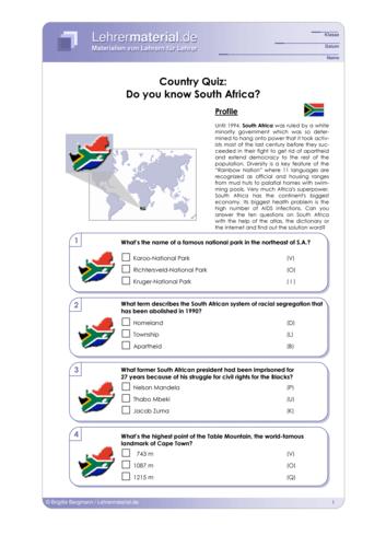 Vorschaugrafik 1 für das  Arbeitsblatt Country Quiz: Do you know South Africa? von Lehrermaterial.de.