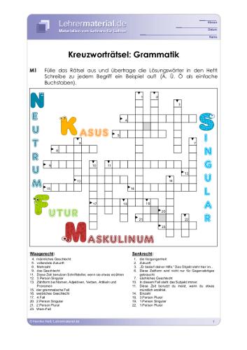Vorschaugrafik für das  Arbeitsblatt Kreuzworträtsel: Grammatik von Lehrermaterial.de