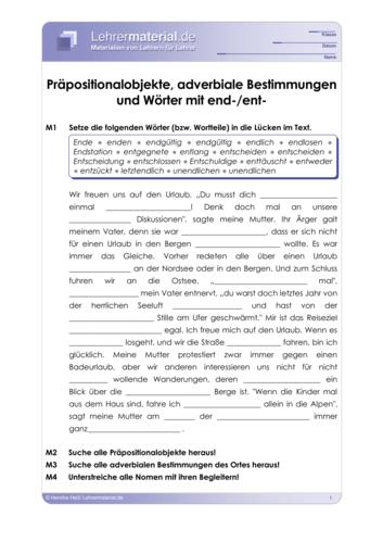 Vorschaugrafik 1 für das  Arbeitsblatt Präpositionalobjekte, adverbiale Bestimmungen und Wörter mit end-/ent- von Lehrermaterial.de.
