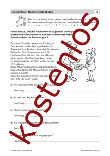 Vorschaugrafik 1 für das kostenlose Arbeitsblatt Sachaufgaben auf der Spur (II) - Die richtigen Rechenwerte finden von Lehrermaterial.de.