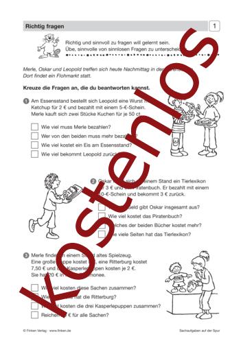 Vorschaugrafik 1 für das kostenlose Arbeitsblatt Sachaufgaben auf der Spur (III) - Richtig fragen von Lehrermaterial.de.