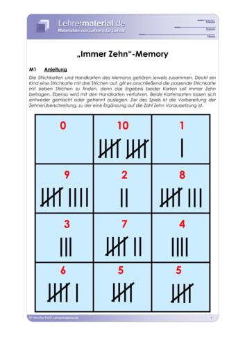 Vorschaugrafik für das  Arbeitsblatt Immer Zehn-Memory von Lehrermaterial.de