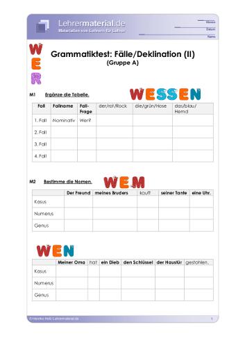 Vorschaugrafik für das  Arbeitsblatt Grammatiktest: Fälle/Deklination (II) von Lehrermaterial.de