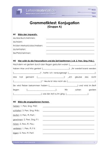 Vorschaugrafik für das  Arbeitsblatt Grammatiktest: Konjugation von Lehrermaterial.de