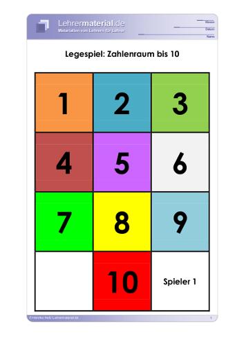 Vorschaugrafik für das  Arbeitsblatt Legespiel: Zahlenraum bis 10 von Lehrermaterial.de