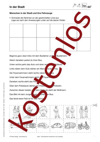 Vorschaugrafik 1 für das kostenlose Arbeitsblatt Menschen in der Stadt und ihre Fahrzeuge von Lehrermaterial.de.