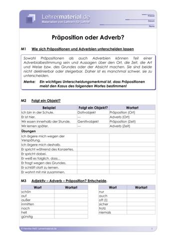 Vorschaugrafik 1 für das  Arbeitsblatt Präposition oder Adverb? von Lehrermaterial.de.