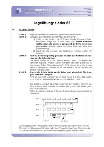 Vorschaugrafik 1 für das  Arbeitsblatt Legeübung: s oder ß? von Lehrermaterial.de.