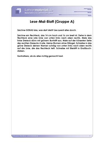 Vorschaugrafik für das  Arbeitsblatt Lese-Mal-Blatt von Lehrermaterial.de