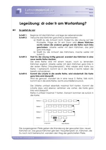 Vorschaugrafik 1 für das  Arbeitsblatt Legeübung: dr oder tr am Wortanfang? von Lehrermaterial.de.