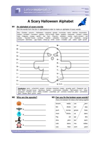 Vorschaugrafik 1 für das  Arbeitsblatt A Scary Halloween Alphabet von Lehrermaterial.de.