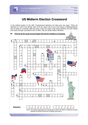Vorschaugrafik 1 für das  Arbeitsblatt November 6 - US Midterm Election Crossword von Lehrermaterial.de.