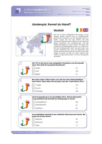 Vorschaugrafik 1 für das  Arbeitsblatt Länderquiz: Kennst du Irland? von Lehrermaterial.de.