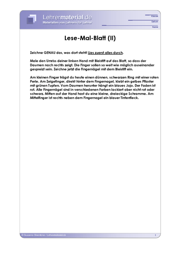 Vorschaugrafik 1 für das  Arbeitsblatt Lese-Mal-Blatt (II) von Lehrermaterial.de.