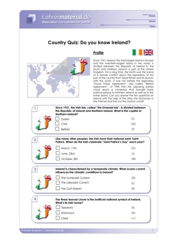 Vorschaugrafik 1 für das  Arbeitsblatt Country Quiz: Do you know Ireland? von Lehrermaterial.de.