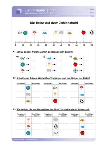 Vorschaugrafik 1 für das  Arbeitsblatt Die Reise auf dem Zahlenstrahl von Lehrermaterial.de.