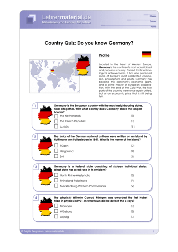 Vorschaugrafik 1 für das  Arbeitsblatt Country Quiz: Do you know Germany? von Lehrermaterial.de.