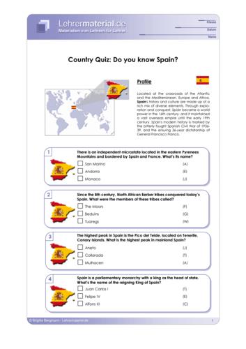 Vorschaugrafik 1 für das  Arbeitsblatt Country Quiz: Do you know Spain? von Lehrermaterial.de.