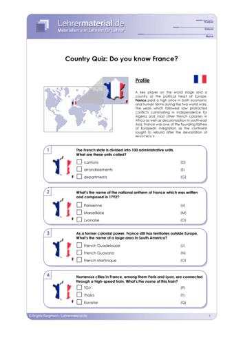 Vorschaugrafik 1 für das  Arbeitsblatt Country Quiz: Do you know France? von Lehrermaterial.de.