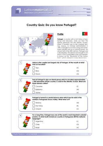 Vorschaugrafik 1 für das  Arbeitsblatt Country Quiz: Do you know Portugal? von Lehrermaterial.de.