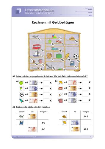 Vorschaugrafik 1 für das  Arbeitsblatt Rechnen mit Geldbeträgen  von Lehrermaterial.de.