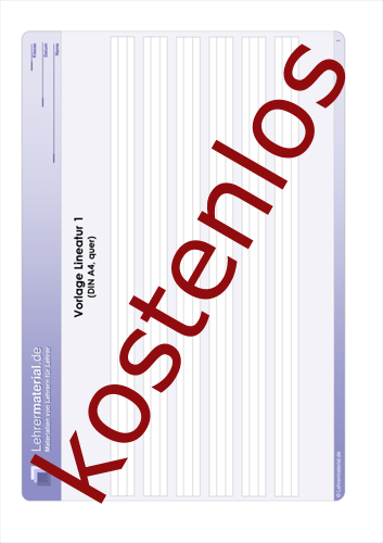 Vorschaugrafik 1 für das kostenlose Arbeitsblatt Vorlage Lineatur 1 (DIN A4, quer)  von Lehrermaterial.de.