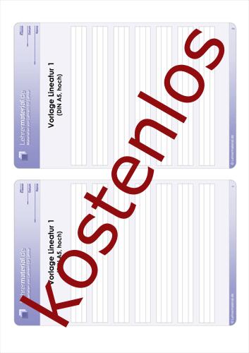 Vorschaugrafik 1 für das kostenlose Arbeitsblatt Vorlage Lineatur 1 (DIN A5, hoch)  von Lehrermaterial.de.