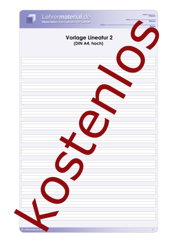 Vorschaugrafik für das kostenlose Arbeitsblatt Vorlage Lineatur 2 (DIN A4, hoch)  von Lehrermaterial.de