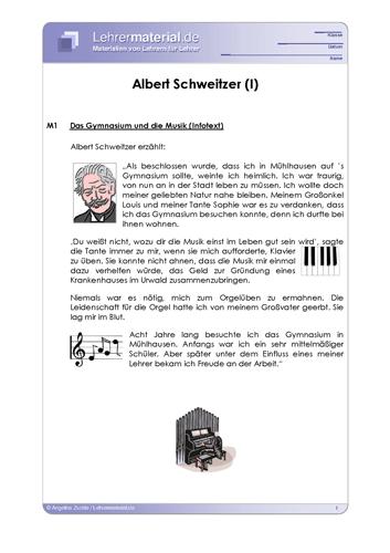Vorschaugrafik 1 für das  Arbeitsblatt Albert Schweitzer von Lehrermaterial.de.