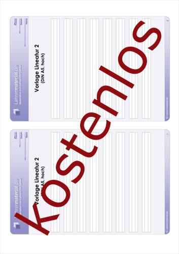 Vorschaugrafik 1 für das kostenlose Arbeitsblatt Vorlage Lineatur 2 (DIN A5, hoch)  von Lehrermaterial.de.