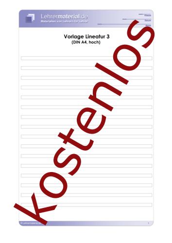 Vorschaugrafik 1 für das kostenlose Arbeitsblatt Vorlage Lineatur 3 (DIN A4, hoch)  von Lehrermaterial.de.
