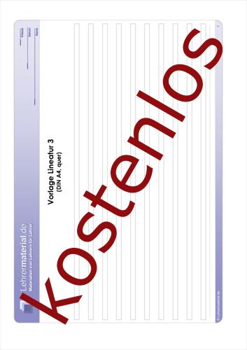 Vorschaugrafik 1 für das kostenlose Arbeitsblatt Vorlage Lineatur 3 (DIN A4, quer)  von Lehrermaterial.de.