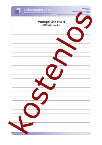 Vorschaugrafik 1 für das kostenlose Arbeitsblatt Vorlage Lineatur 4 (DIN A4, hoch)  von Lehrermaterial.de.