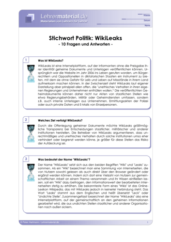 Vorschaugrafik 1 für das  Arbeitsblatt Stichwort Politik: WikiLeaks von Lehrermaterial.de.