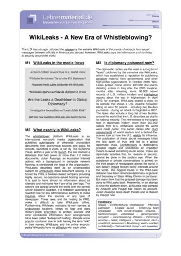 Vorschaugrafik 1 für das  Arbeitsblatt WikiLeaks - A New Era of Whistleblowing? von Lehrermaterial.de.