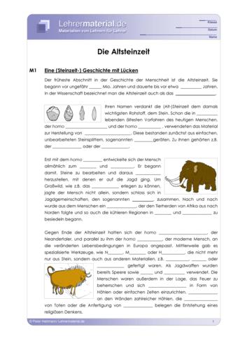 Vorschaugrafik 1 für das  Arbeitsblatt Die Altsteinzeit von Lehrermaterial.de.
