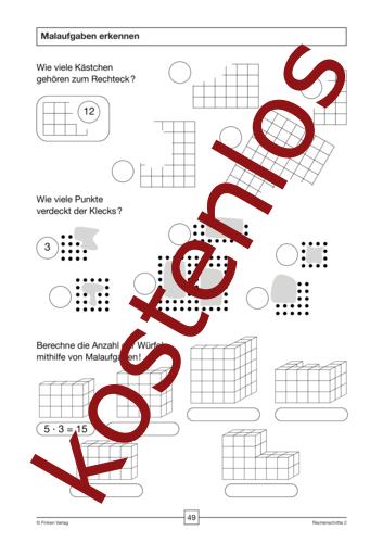 Vorschaugrafik für das kostenlose Arbeitsblatt Malaufgaben erkennen von Lehrermaterial.de