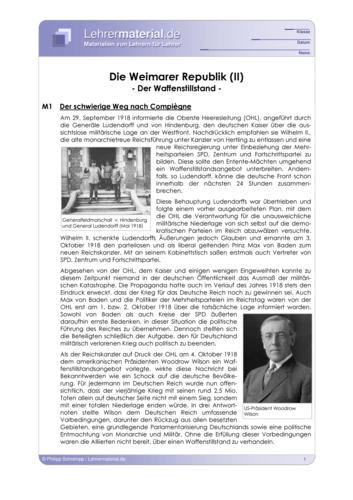 Vorschaugrafik 1 für das  Arbeitsblatt Die Weimarer Republik (II) - Der Waffenstillstand von Lehrermaterial.de.