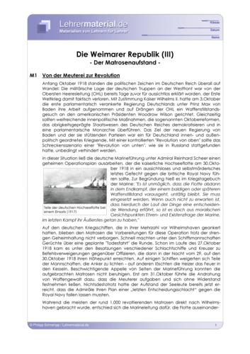 Vorschaugrafik 1 für das  Arbeitsblatt Die Weimarer Republik (III) - Der Matrosenaufstand von Lehrermaterial.de.