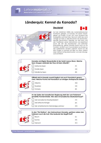 Vorschaugrafik 1 für das  Arbeitsblatt Länderquiz: Kennst du Kanada? von Lehrermaterial.de.