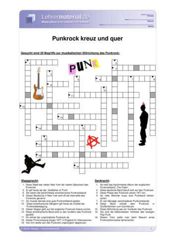Vorschaugrafik 1 für das  Arbeitsblatt Punkrock - kreuz und quer von Lehrermaterial.de.