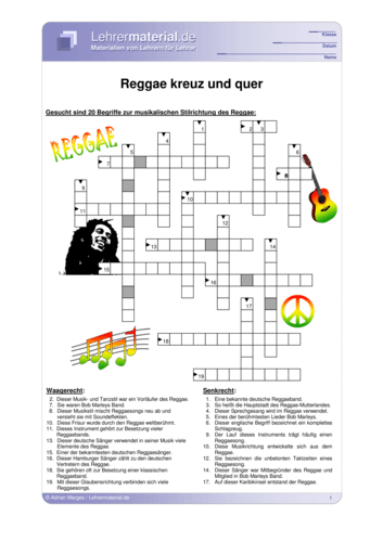 Vorschaugrafik 1 für das  Arbeitsblatt Reggae - kreuz und quer von Lehrermaterial.de.