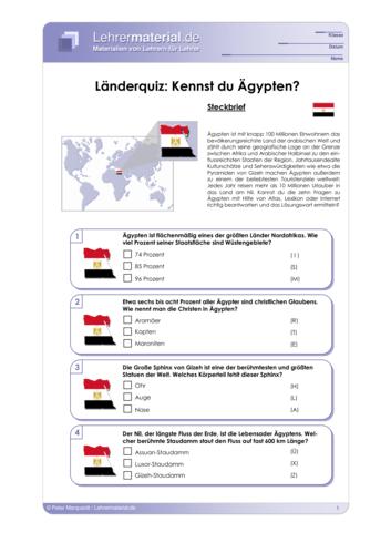 Vorschaugrafik 1 für das  Arbeitsblatt Länderquiz: Kennst du Ägypten? von Lehrermaterial.de.